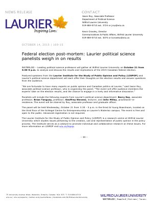 169-2015 : Federal election post-mortem: Laurier political science panelists weigh in on results