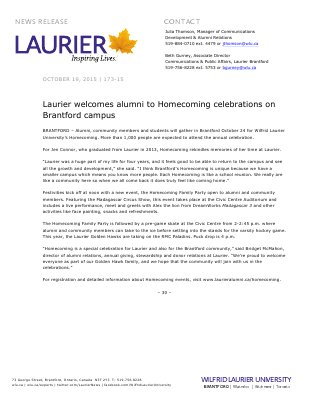 173-2015 : Laurier welcomes alumni to Homecoming celebrations on Brantford campus