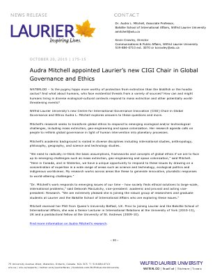 175-2015 : Audra Mitchell appointed Laurier's new CIGI Chair in Global Governance and Ethics