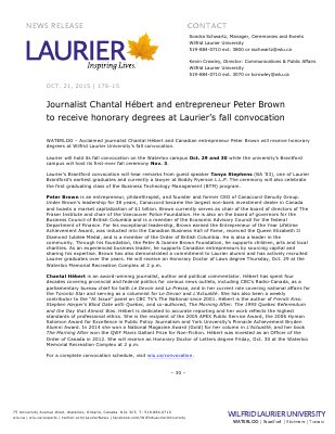 176-2015 : Journalist Chantal Hébert and entrepreneur Peter Brown to receive honorary degrees at Laurier's fall convocation
