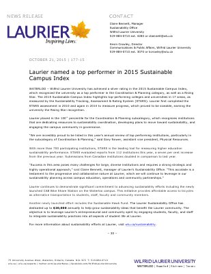 177-2015 : Laurier named a top performer in 2015 Sustainable Campus Index