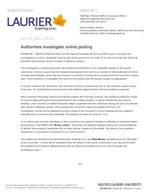 178-2015 : Authorities investigate online posting