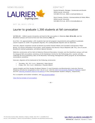 179-2015 : Laurier to graduate 1,300 students at fall convocation