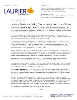 181-2015 : Laurier's Penderecki String Quartet opens third tour of China