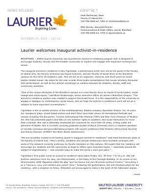182-2015 : Laurier welcomes inaugural activist-in-residence