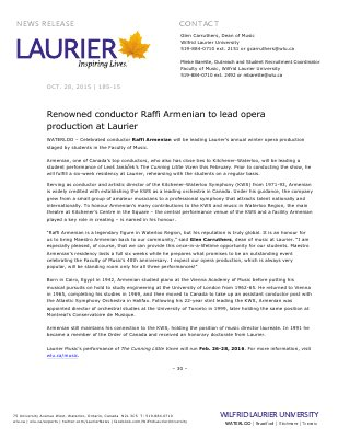 185-2015 : Renowned conductor Raffi Armenian to lead opera production at Laurier
