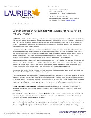 187-2015 : Laurier professor recognized with awards for research on refugee children
