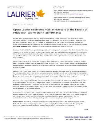 188-2015 :Opera Laurier celebrates 40th anniversary of the Faculty of Music with 'It's my party' performance