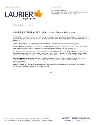 190-2015 : LAURIER EXPERT ALERT: Blockbuster films and fandom