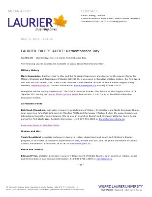 194-2015 : LAURIER EXPERT ALERT: Remembrance Day