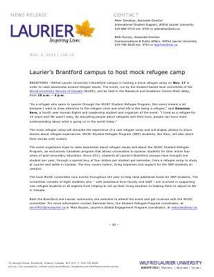 196-2015 : Laurier's Brantford campus to host mock refugee camp