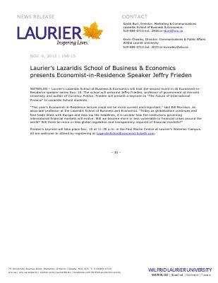 198-2015 : Laurier's Lazaridis School of Business & Economics presents Economist-in-Residence Speaker Jeffry Frieden