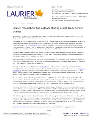 201-2015 : Laurier researchers find outdoor skating at risk from climate change