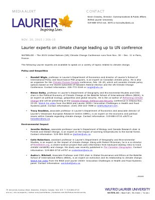 206-2015 : Laurier experts on climate change leading up to UN conference