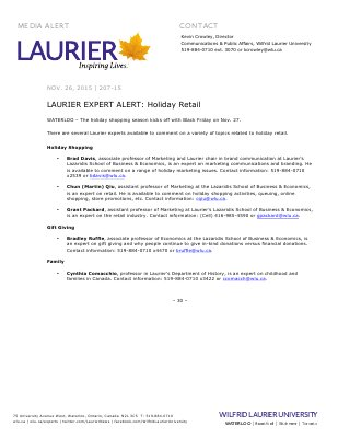 DO NOT MAKE PUBLIC 07-2015 : LAURIER EXPERT ALERT: Holiday Retail