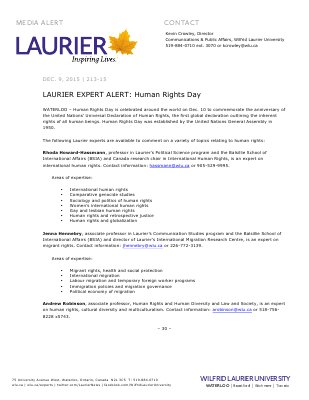 213-2015 : LAURIER EXPERT ALERT: Human Rights Day
