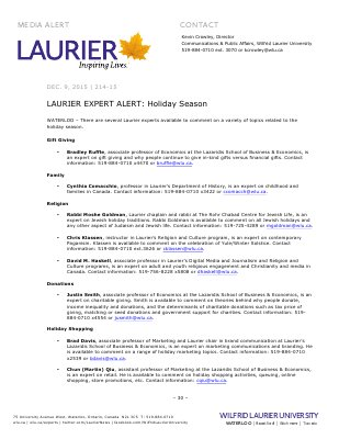 214-2015 : LAURIER EXPERT ALERT: Holiday Season