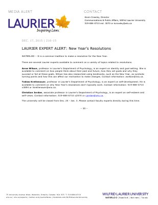 216-2015 : LAURIER EXPERT ALERT: New Year's Resolutions