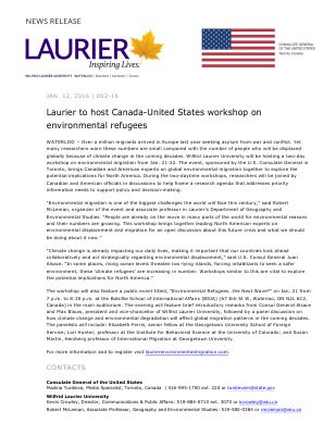 002-2016 : Laurier to host Canada-United States workshop on environmental refugees