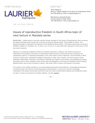 005-2016 : Issues of reproductive freedom in South Africa topic of next lecture in Mandela series