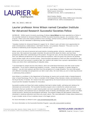 006-2016 : Laurier professor Anne Wilson named Canadian Institute for Advanced Research Successful Societies Fellow