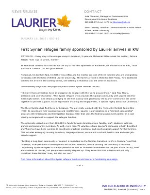 007-2016 : First Syrian refugee family sponsored by Laurier arrives in KW