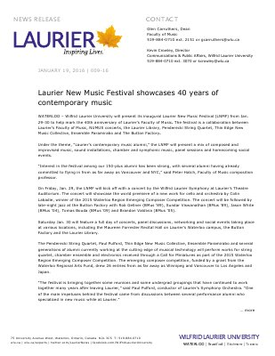 009-2016 : Laurier New Music Festival showcases 40 years of contemporary music