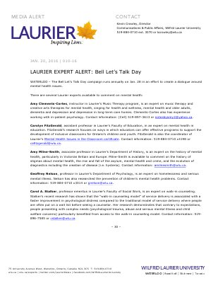 DO NOT MAKE PUBLIC 010-2016 : LAURIER EXPERT ALERT: Bell Let's Talk Day