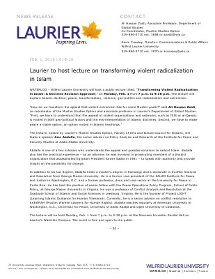 018-2016 : Laurier to host lecture on transforming violent radicalization in Islam