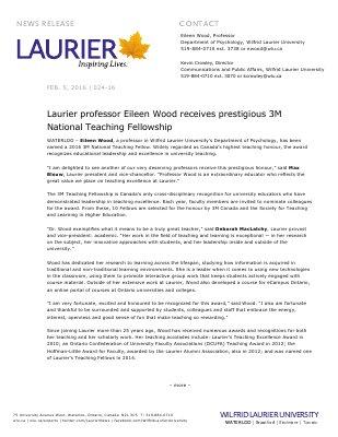 024-2016 : Laurier professor Eileen Wood receives prestigious 3M National Teaching Fellowship