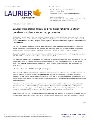 027-2016 : Laurier researcher receives provincial funding to study gendered-violence reporting processes
