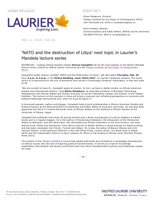 028-2016 : 'NATO and the destruction of Libya' next topic in Laurier's Mandela lecture series