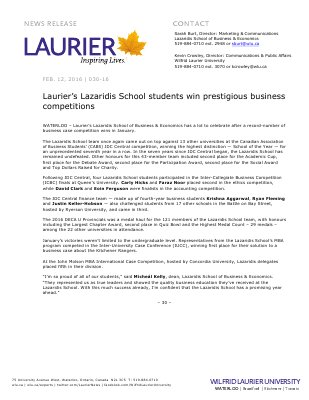 030-2016 : Laurier's Lazaridis School students win prestigious business competitions