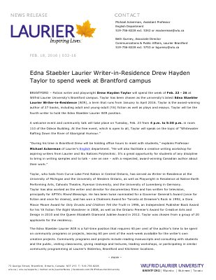 032-2016 : Edna Staebler Laurier Writer-in-Residence Drew Hayden Taylor to spend week at Brantford campus