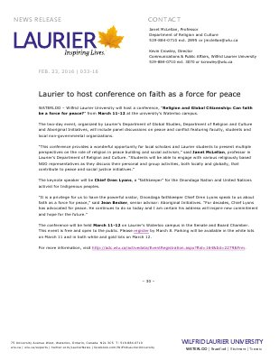 033-2016 : Laurier to host conference on faith as a force for peace