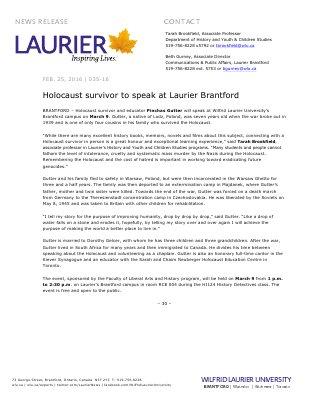 035-2016 : Holocaust survivor to speak at Laurier Brantford