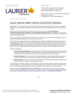 036-2016 : Laurier explores hidden histories of provincial institutions
