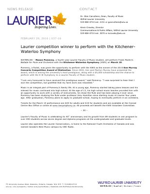 037-2016 : Laurier competition winner to perform with the Kitchener-Waterloo Symphony