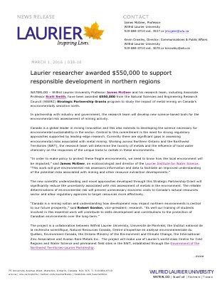 038-2016 : Laurier researcher awarded $550,000 to support  responsible development in northern regions