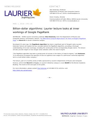 041-2016 : Billion-dollar algorithms: Laurier lecture looks at inner workings of Google PageRank