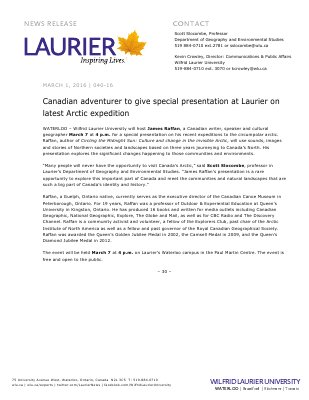 040-2016 : Canadian adventurer to give special presentation at Laurier on latest Arctic expedition