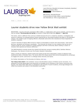 042-2016 : Laurier students drive new Yellow Brick Wall exhibit