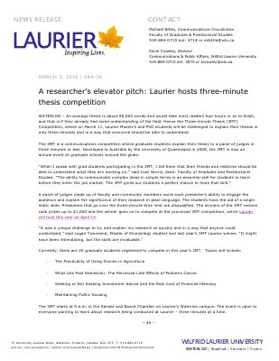 044-2016 : A researcher's elevator pitch: Laurier hosts three-minute thesis competition