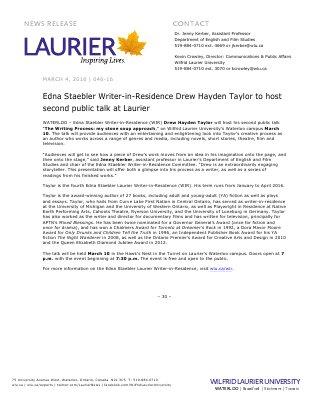 046-2016 : Edna Staebler Writer-in-Residence Drew Hayden Taylor to host second public talk at Laurier
