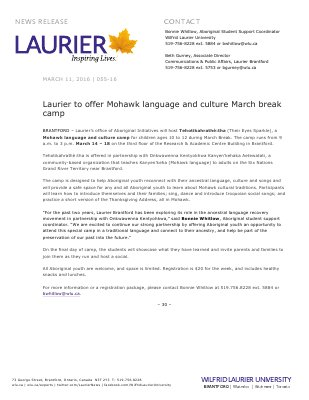 055-2016 : Laurier to offer Mohawk language and culture March break camp