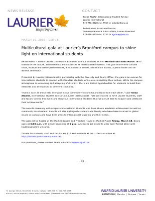 058-2016 : Multicultural gala at Laurier's Brantford campus to shine light on international students