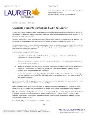 059-2016 : Graduate students contribute $1.1M to Laurier