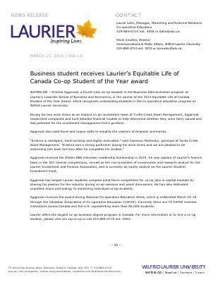 060-2016 : Business student receives Laurier's Equitable Life of Canada Co-op Student of the Year award