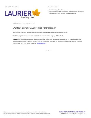 067-2016 : LAURIER EXPERT ALERT: Rob Ford's legacy