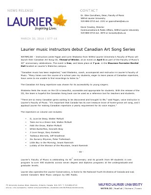 077-2016 : Laurier music instructors debut Canadian Art Song Series